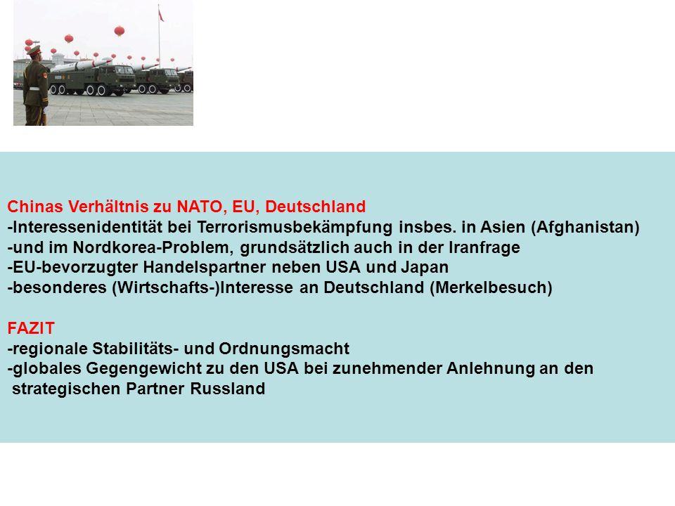 Chinas Verhältnis zu NATO, EU, Deutschland