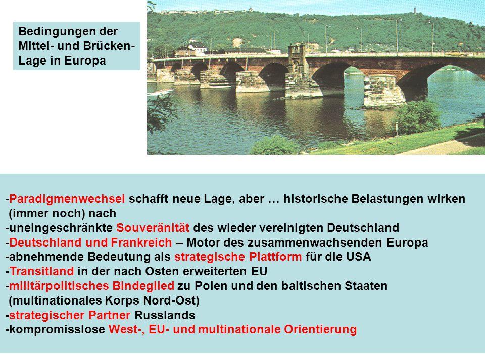 Bedingungen der Mittel- und Brücken- Lage in Europa. -Paradigmenwechsel schafft neue Lage, aber … historische Belastungen wirken.