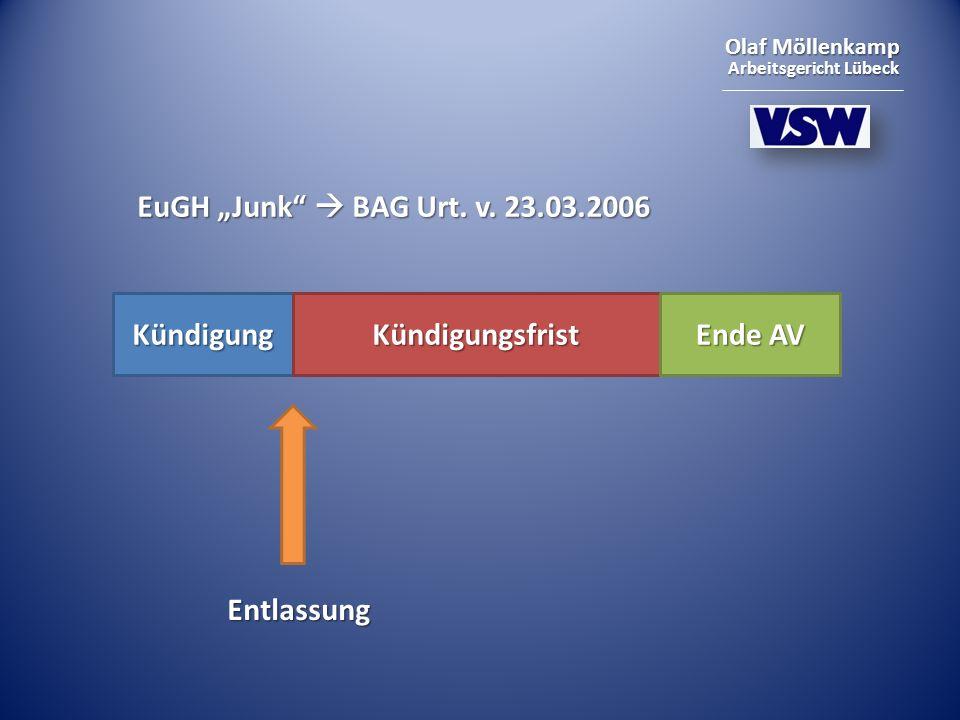 "EuGH ""Junk  BAG Urt. v. 23.03.2006 Kündigung Kündigungsfrist Ende AV Entlassung"