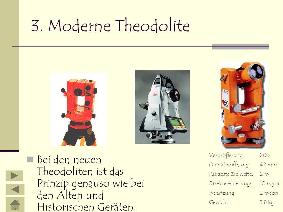 3. Moderne TheodoliteVergrößerung: 20 x. Objektivöffnung: 42 mm. Kürzeste Zielweite: 2 m. Direkte Ablesung: