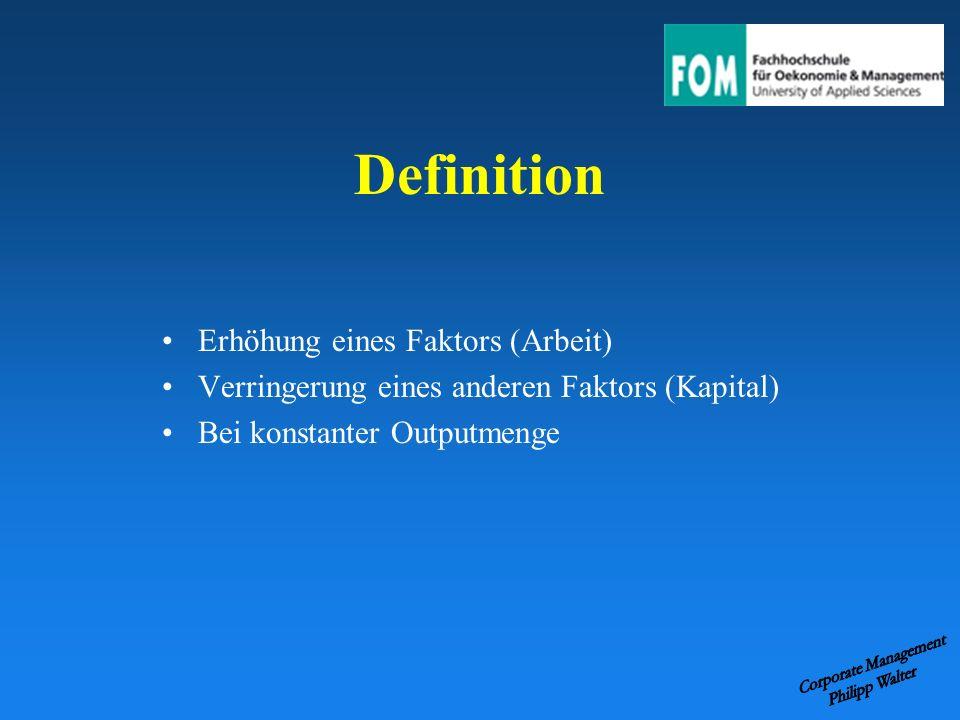 Definition Erhöhung eines Faktors (Arbeit)