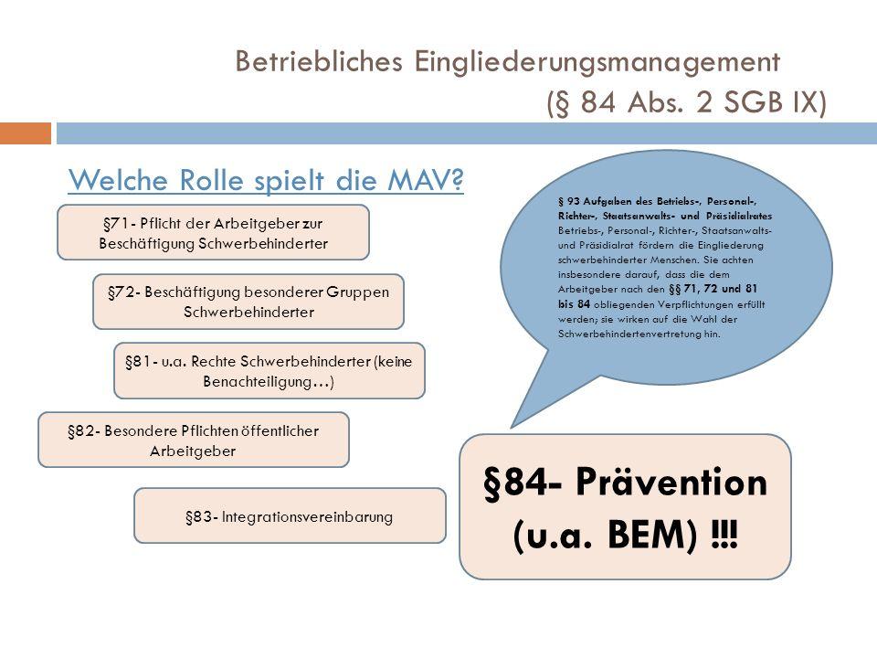 Betriebliches Eingliederungsmanagement (§ 84 Abs. 2 SGB IX)