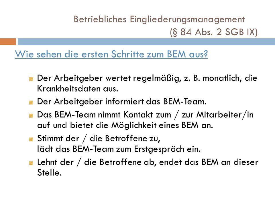 Wie sehen die ersten Schritte zum BEM aus