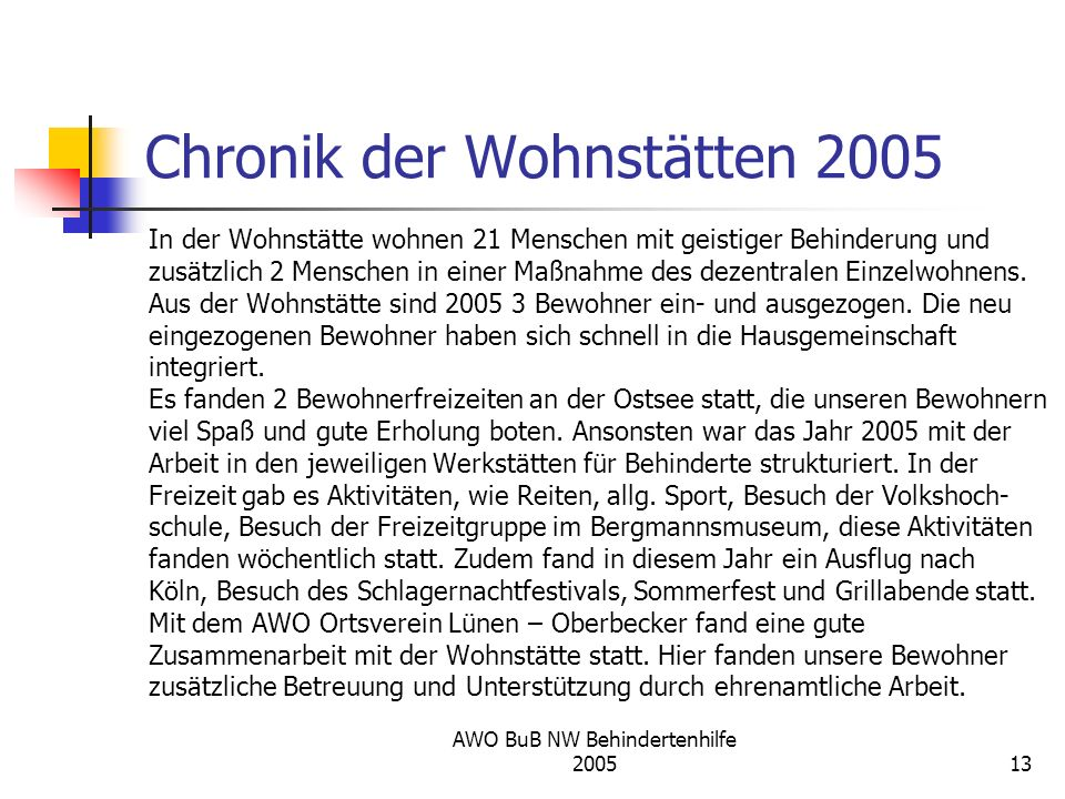 Chronik der Wohnstätten 2005