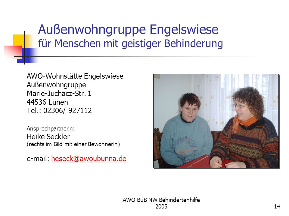 Außenwohngruppe Engelswiese für Menschen mit geistiger Behinderung