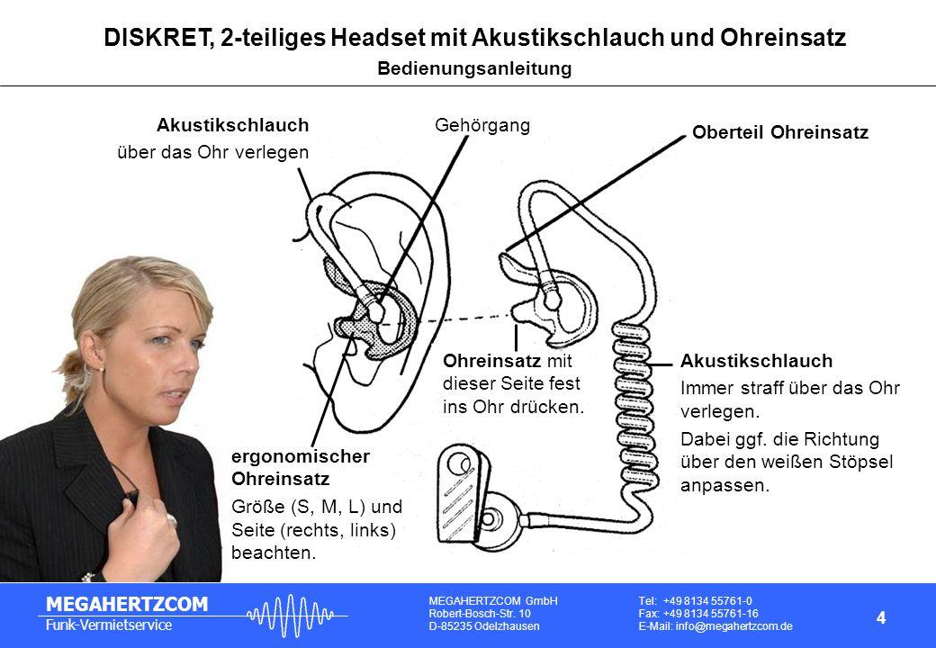 DISKRET, 2-teiliges Headset mit Akustikschlauch und Ohreinsatz