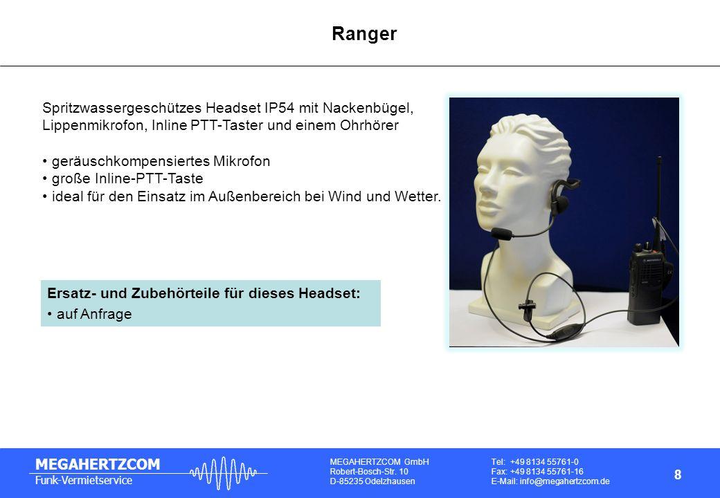 Ranger Spritzwassergeschützes Headset IP54 mit Nackenbügel,
