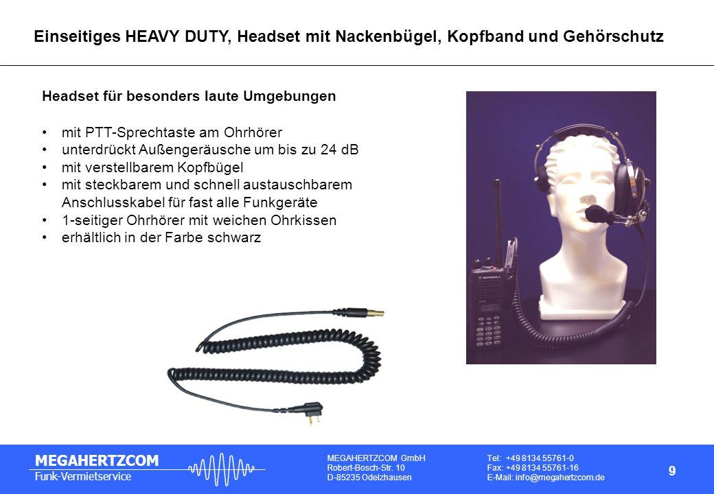 Einseitiges HEAVY DUTY, Headset mit Nackenbügel, Kopfband und Gehörschutz