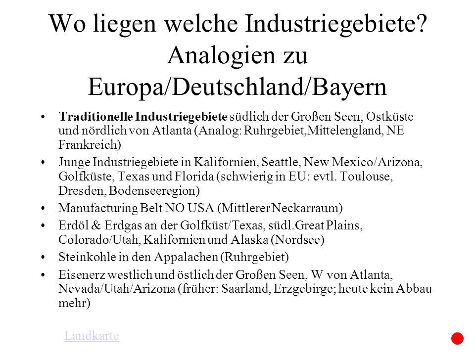 Wo liegen welche Industriegebiete