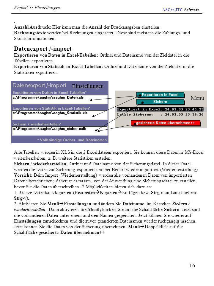 Datenexport /-import Einstellungen Menü Kapitel 3: Einstellungen .