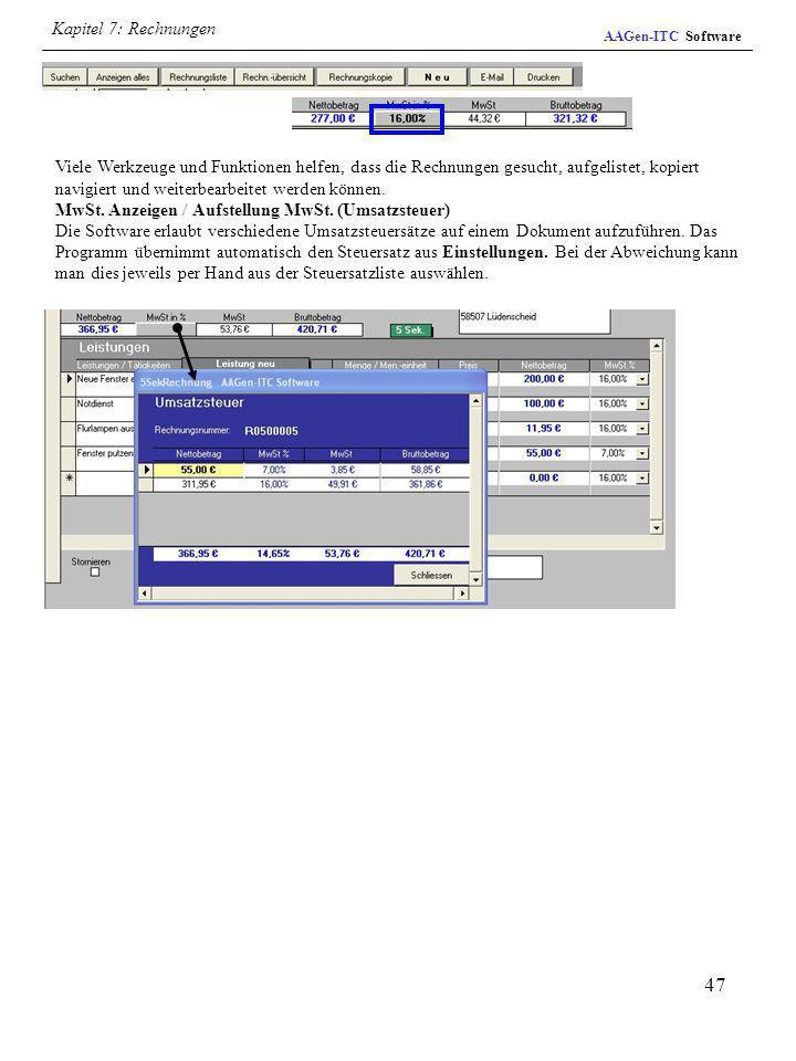 Kapitel 7: Rechnungen AAGen-ITC Software.