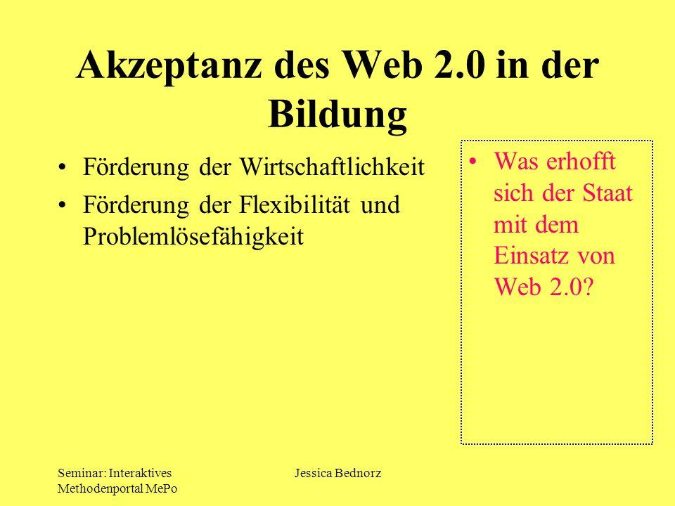 Akzeptanz des Web 2.0 in der Bildung