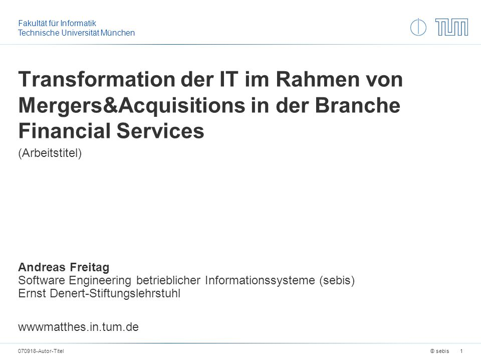 Transformation der IT im Rahmen von Mergers&Acquisitions in der Branche Financial Services