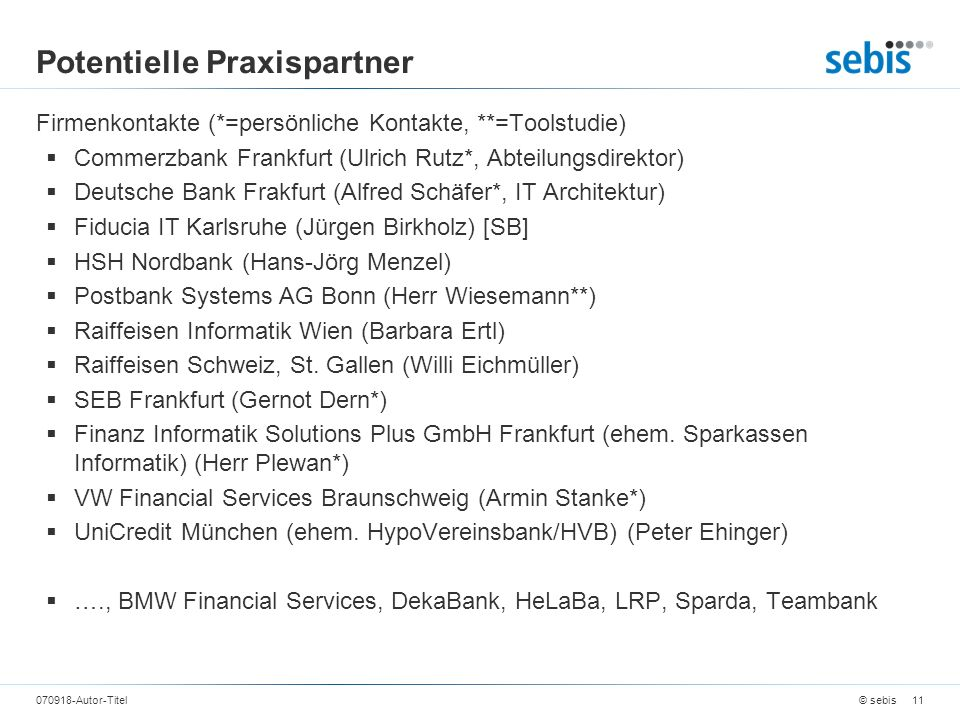 Potentielle Praxispartner