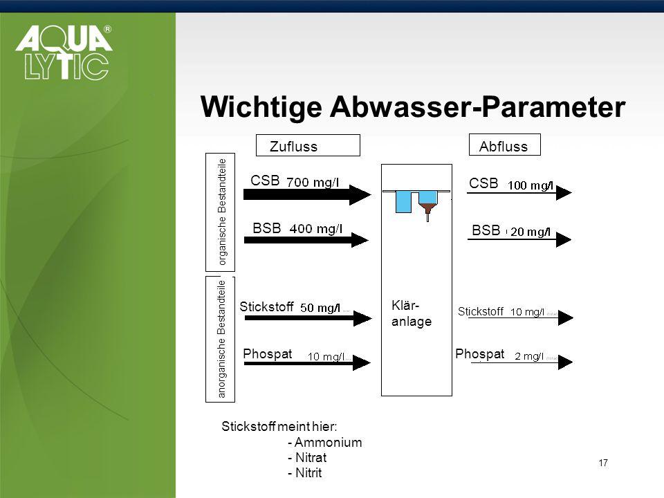 Wichtige Abwasser-Parameter