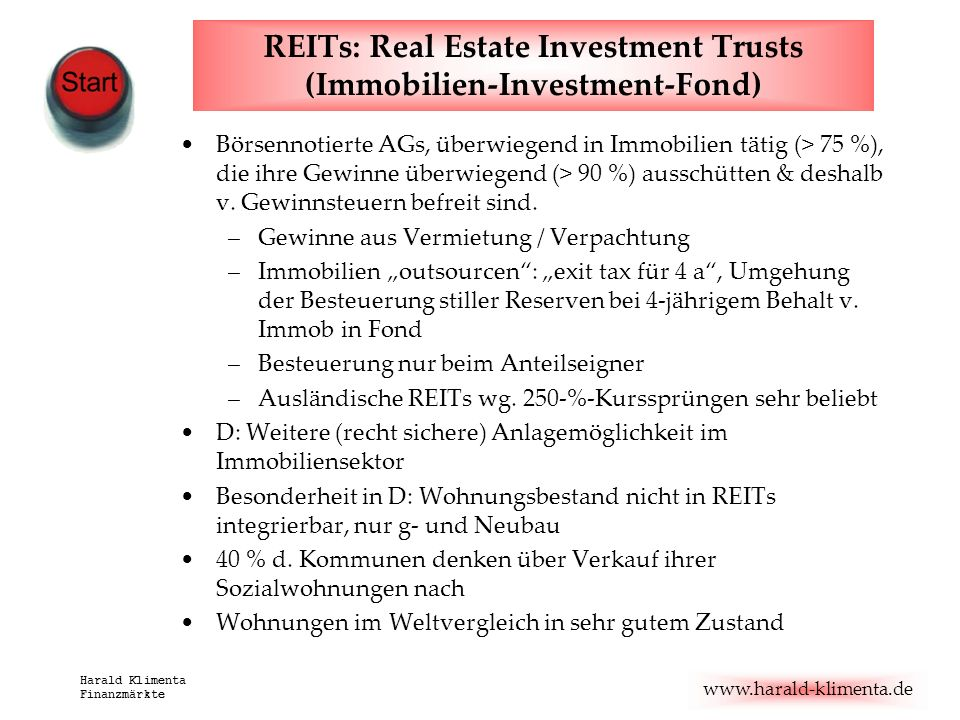 REITs: Real Estate Investment Trusts (Immobilien-Investment-Fond)
