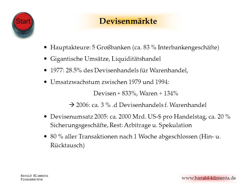 Devisenmärkte Hauptakteure: 5 Großbanken (ca. 83 % Interbankengeschäfte) Gigantische Umsätze, Liquiditätshandel.