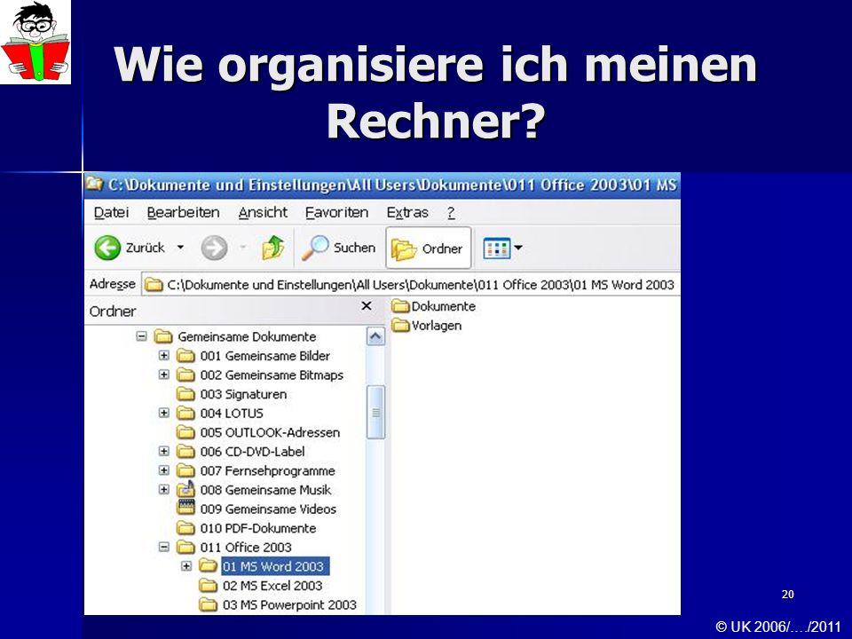 Wie organisiere ich meinen Rechner