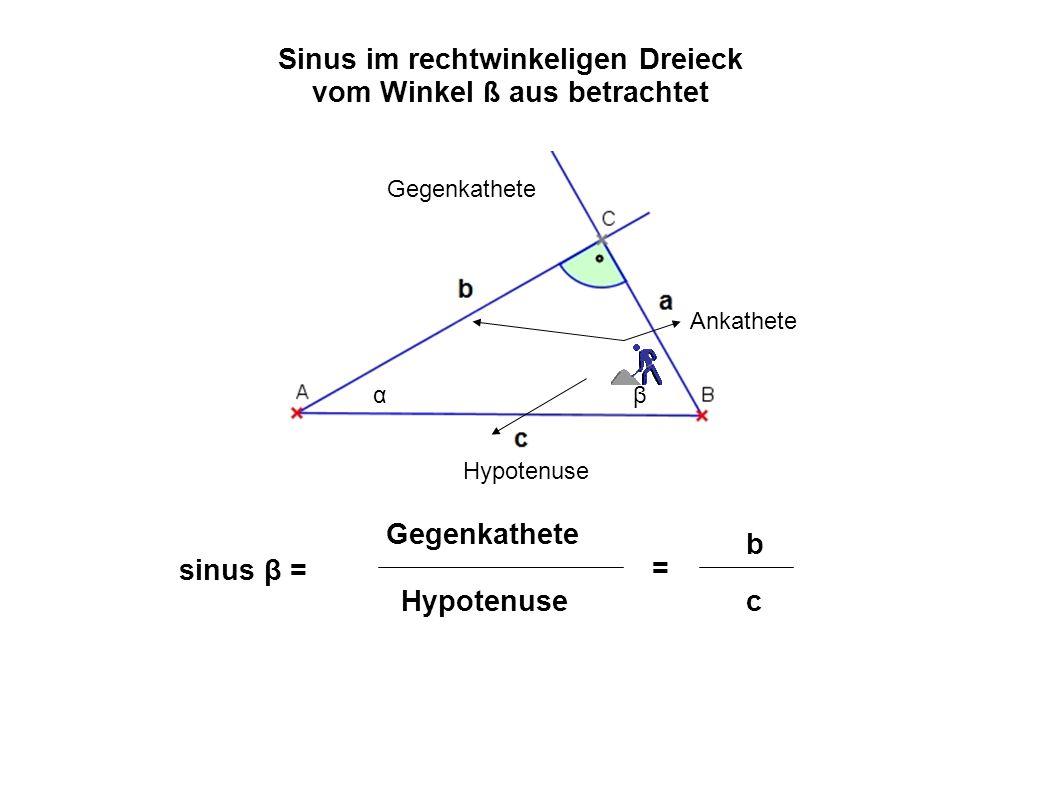 Sinus im rechtwinkeligen Dreieck vom Winkel ß aus betrachtet