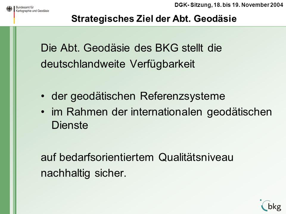 Strategisches Ziel der Abt. Geodäsie
