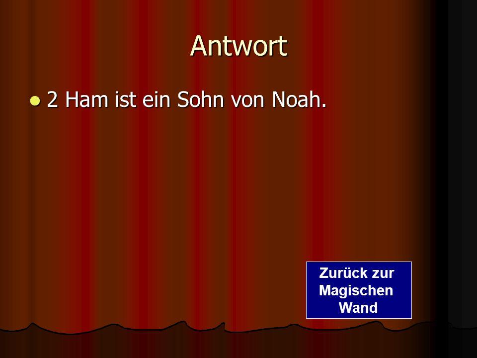 Antwort 2 Ham ist ein Sohn von Noah. Zurück zur Magischen Wand