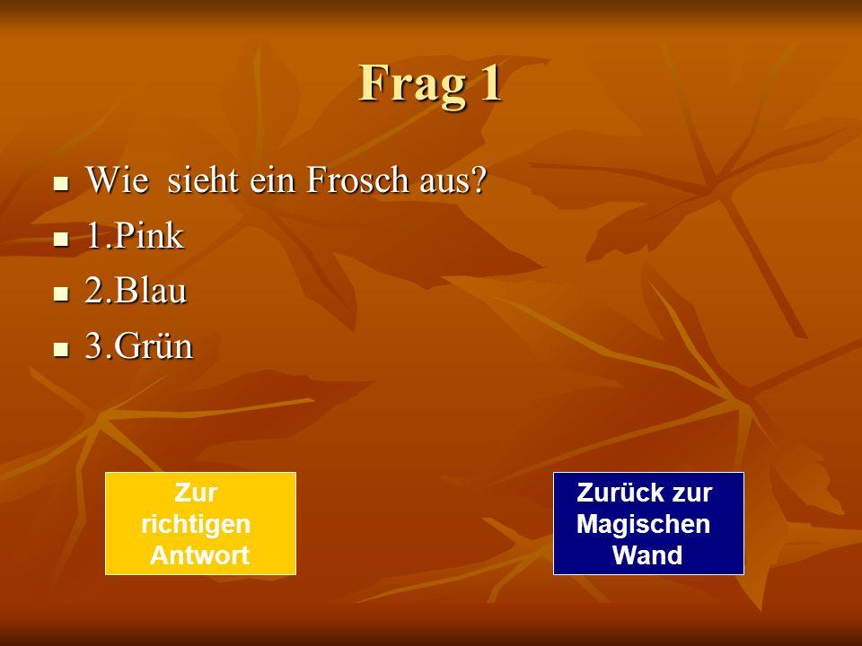 Frag 1 Wie sieht ein Frosch aus 1.Pink 2.Blau 3.Grün Zur richtigen
