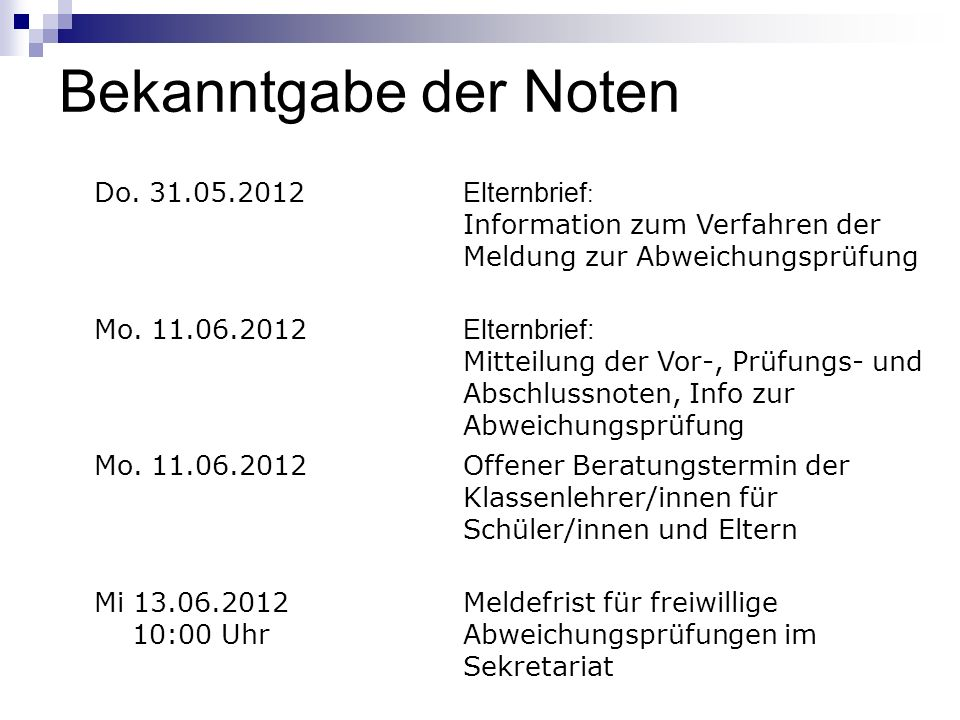 Bekanntgabe der Noten Do. 31.05.2012