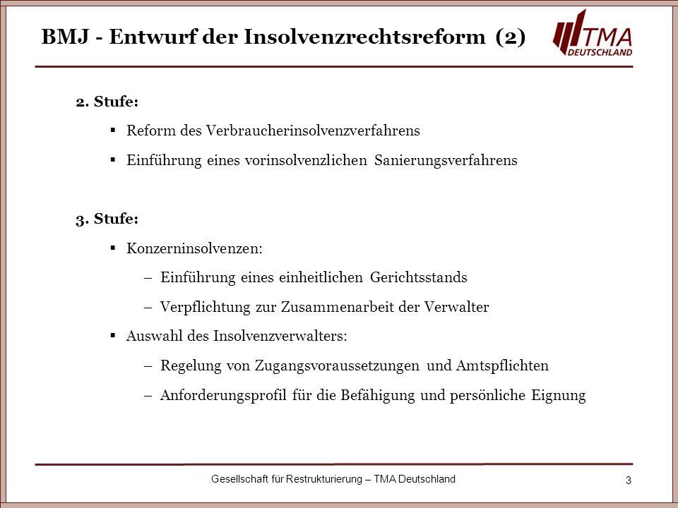 BMJ - Entwurf der Insolvenzrechtsreform (2)