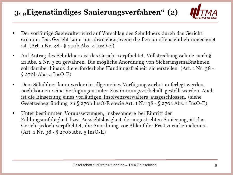 """3. """"Eigenständiges Sanierungsverfahren (2)"""
