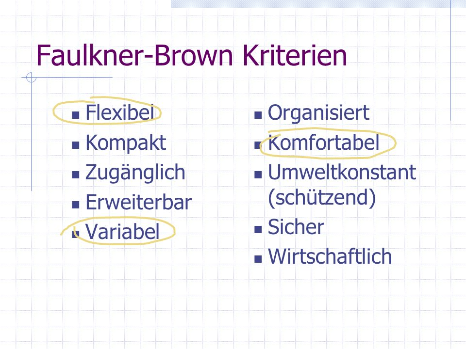 Faulkner-Brown Kriterien