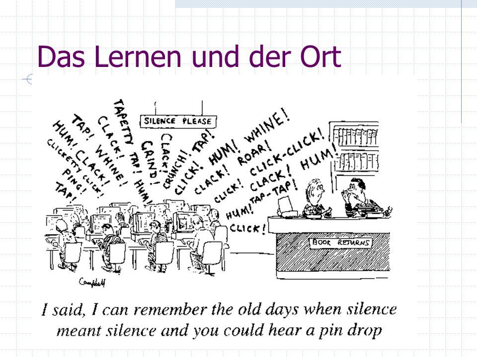 Das Lernen und der Ort Nähe Kommunikation zum traditionellen Lernort (Hörsaal etc.) 'Orte' für alle Formen des Lernens: