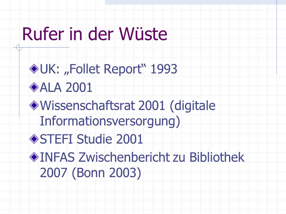 "Rufer in der Wüste UK: ""Follet Report 1993 ALA 2001"
