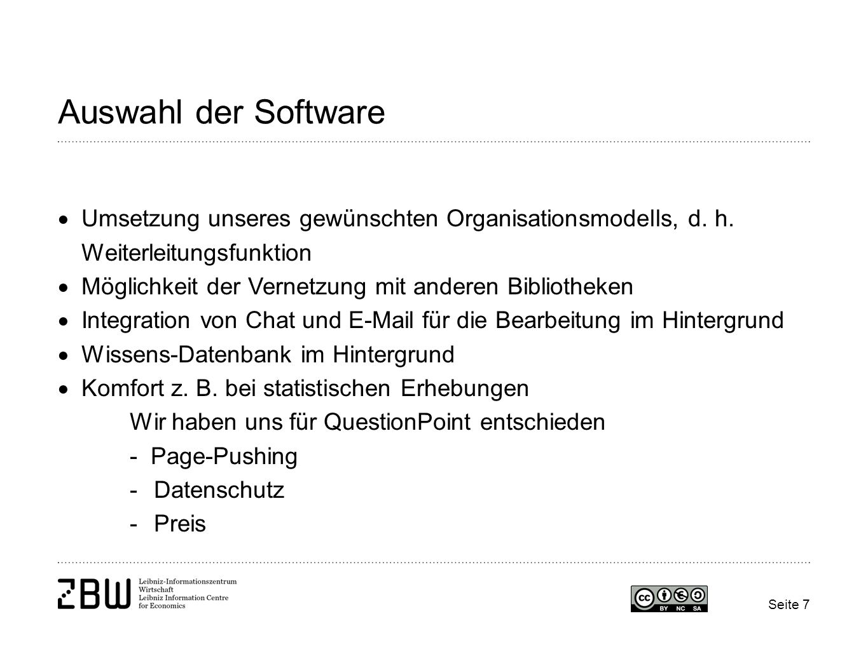 Auswahl der Software Umsetzung unseres gewünschten Organisationsmodells, d. h. Weiterleitungsfunktion.