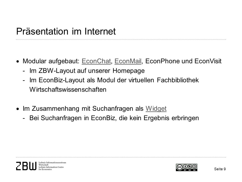 Präsentation im Internet