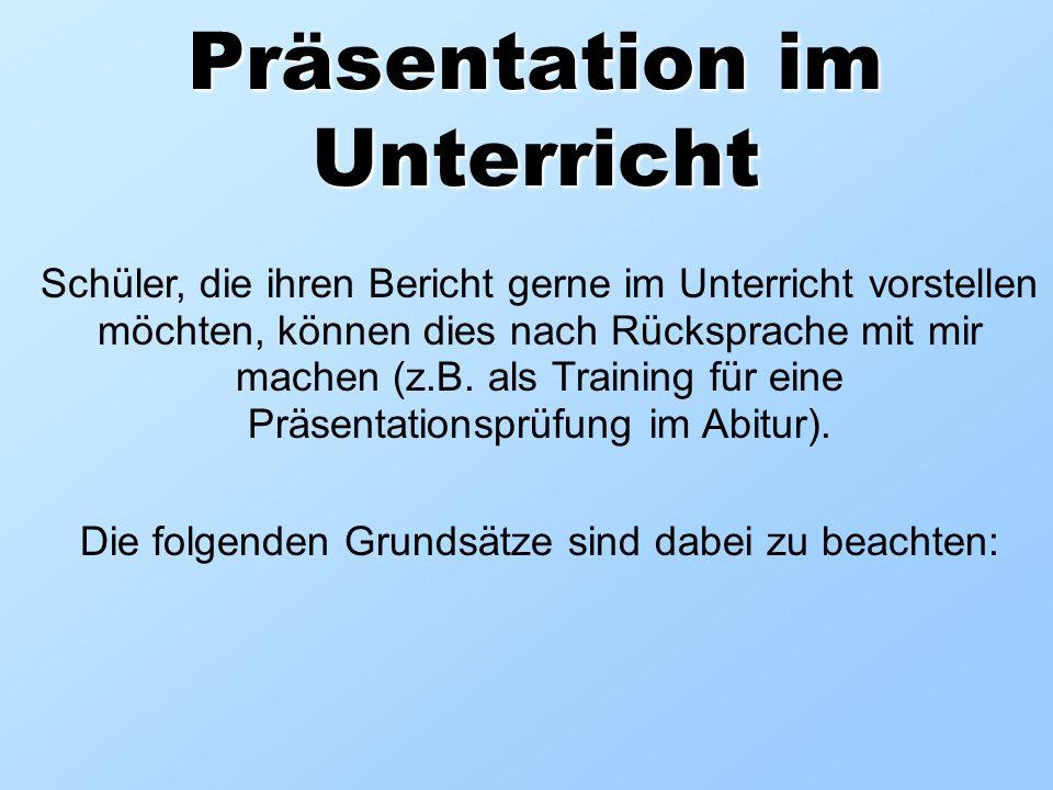 Präsentation im Unterricht