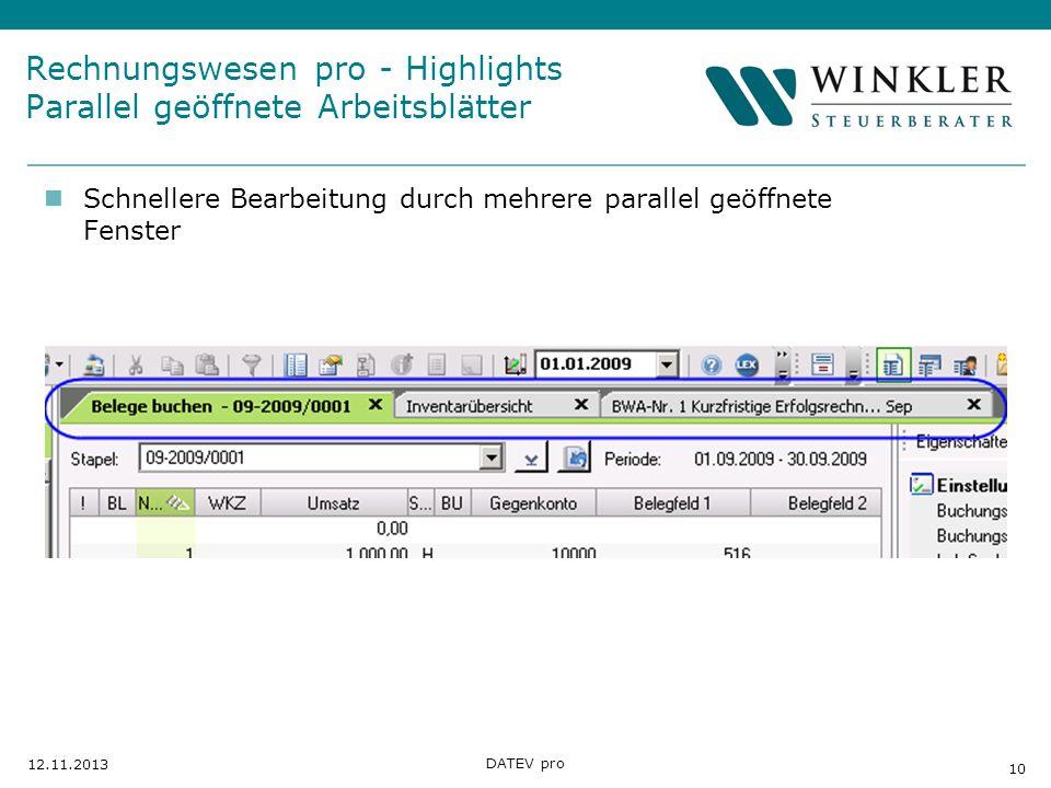 Rechnungswesen pro - Highlights Parallel geöffnete Arbeitsblätter