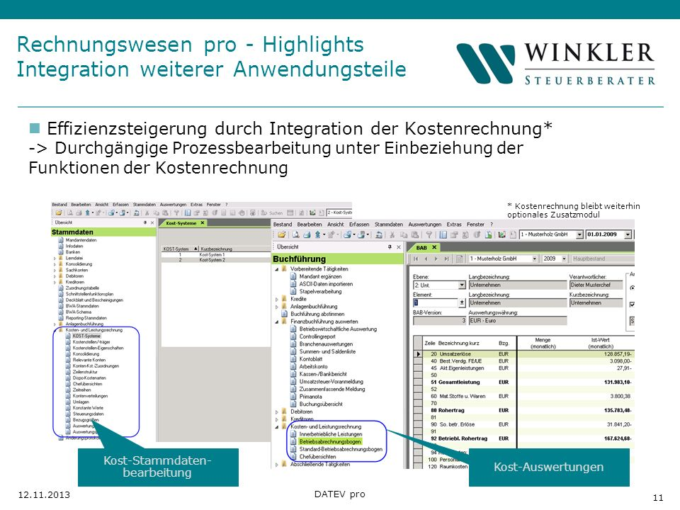 Rechnungswesen pro - Highlights Integration weiterer Anwendungsteile