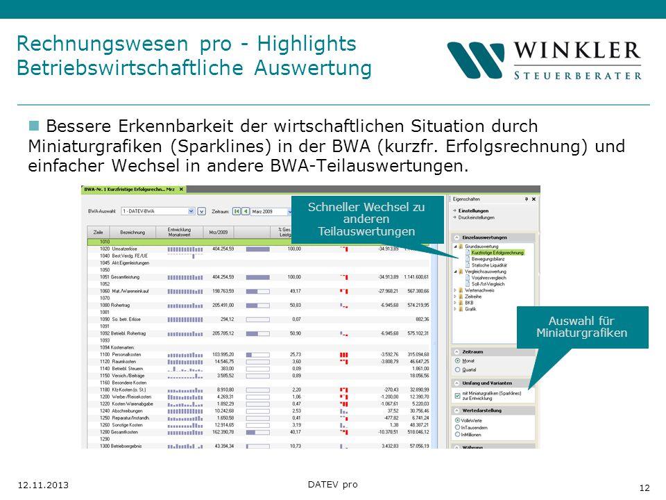 Rechnungswesen pro - Highlights Betriebswirtschaftliche Auswertung