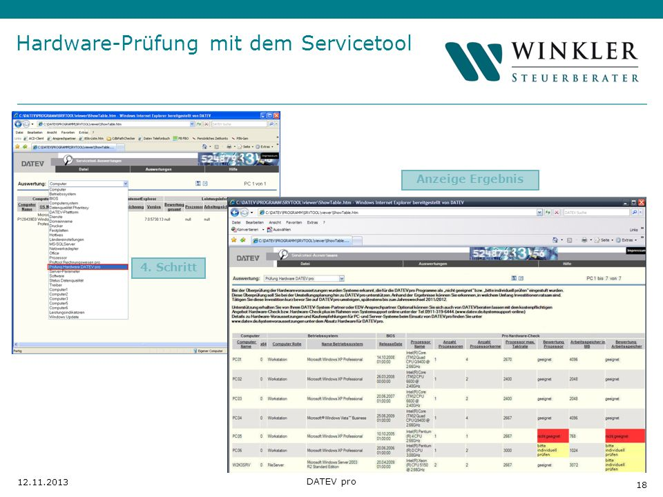 Hardware-Prüfung mit dem Servicetool