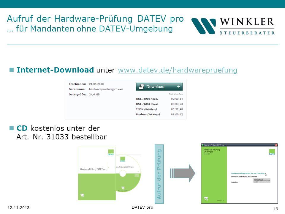 Aufruf der Hardware-Prüfung DATEV pro … für Mandanten ohne DATEV-Umgebung