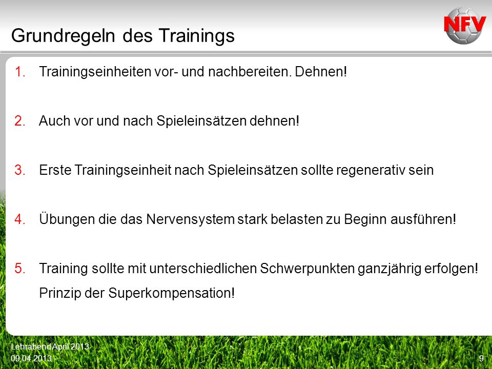 Grundregeln des Trainings
