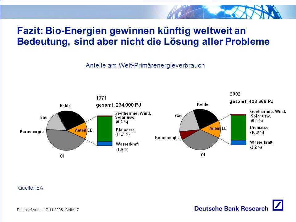 Fazit: Bio-Energien gewinnen künftig weltweit an Bedeutung, sind aber nicht die Lösung aller Probleme