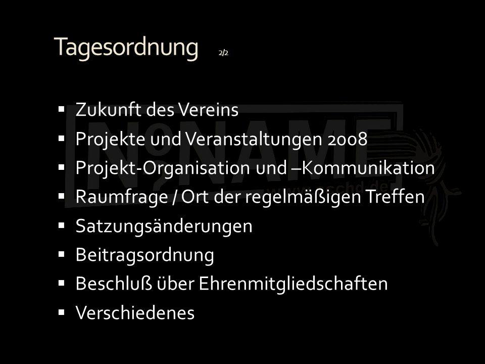 Tagesordnung 2/2 Zukunft des Vereins Projekte und Veranstaltungen 2008