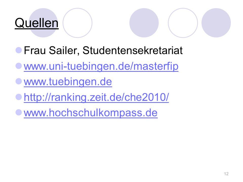 Quellen Frau Sailer, Studentensekretariat