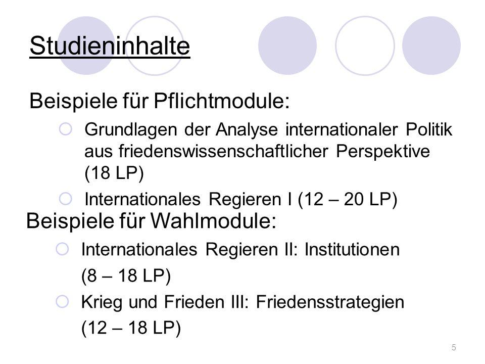 Studieninhalte Beispiele für Pflichtmodule: Beispiele für Wahlmodule: