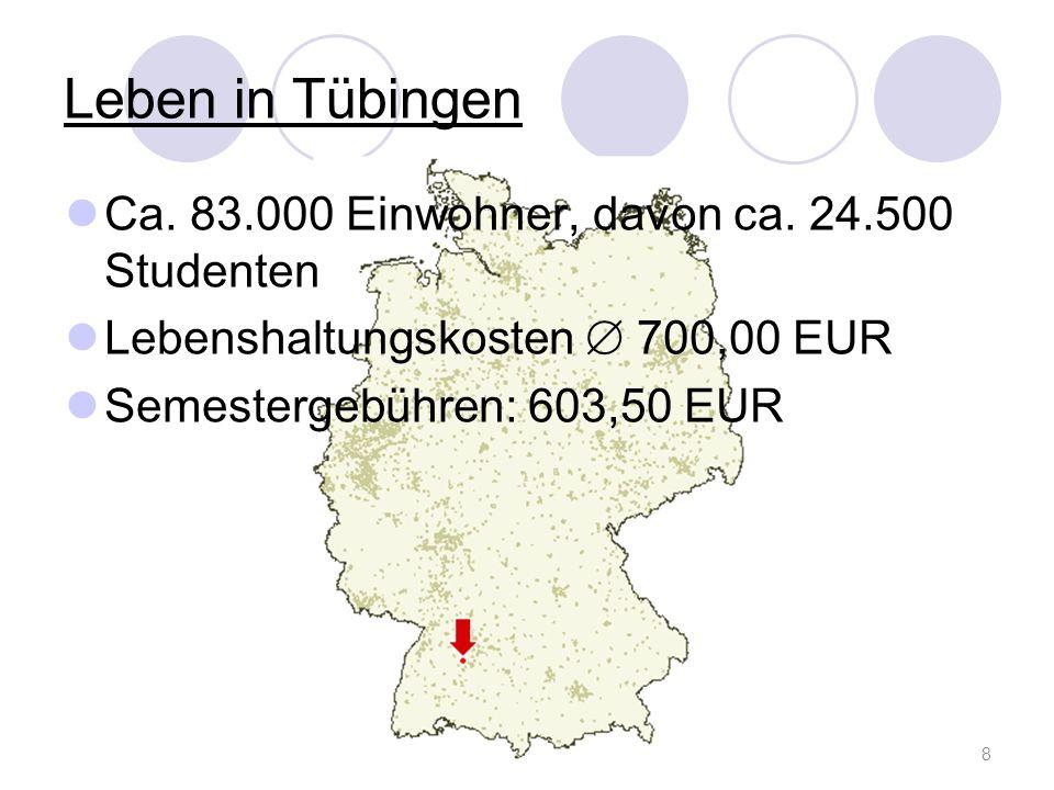 Leben in Tübingen Ca. 83.000 Einwohner, davon ca. 24.500 Studenten