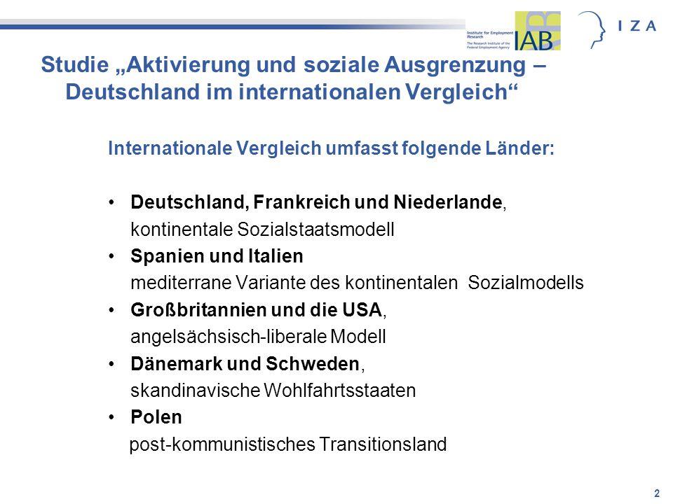 """Studie """"Aktivierung und soziale Ausgrenzung – Deutschland im internationalen Vergleich"""