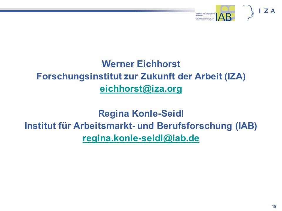 Forschungsinstitut zur Zukunft der Arbeit (IZA) eichhorst@iza.org