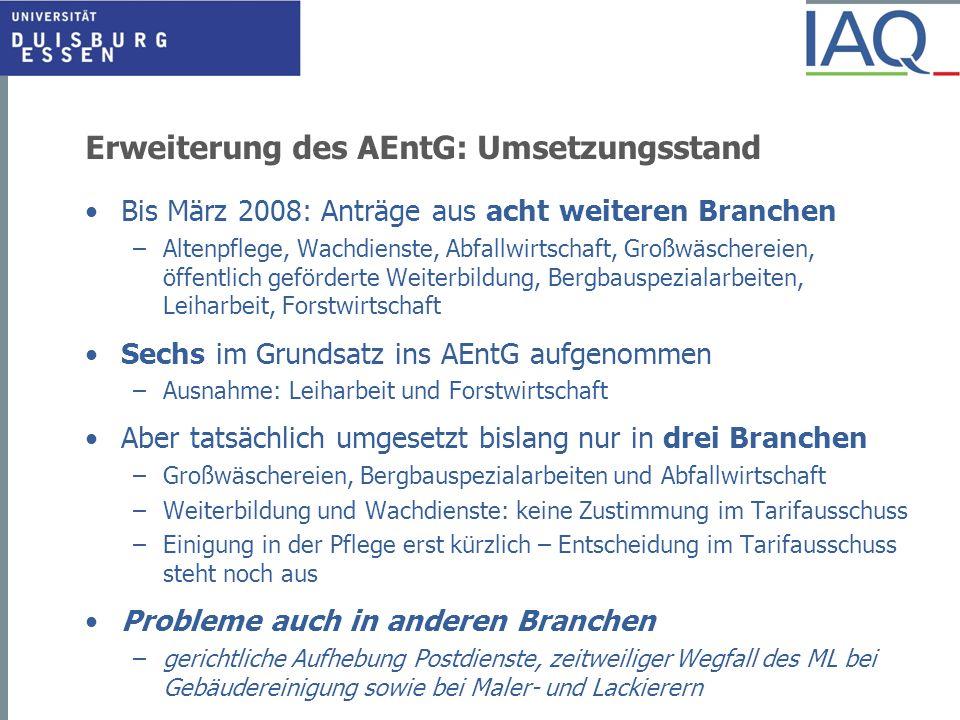 Erweiterung des AEntG: Umsetzungsstand
