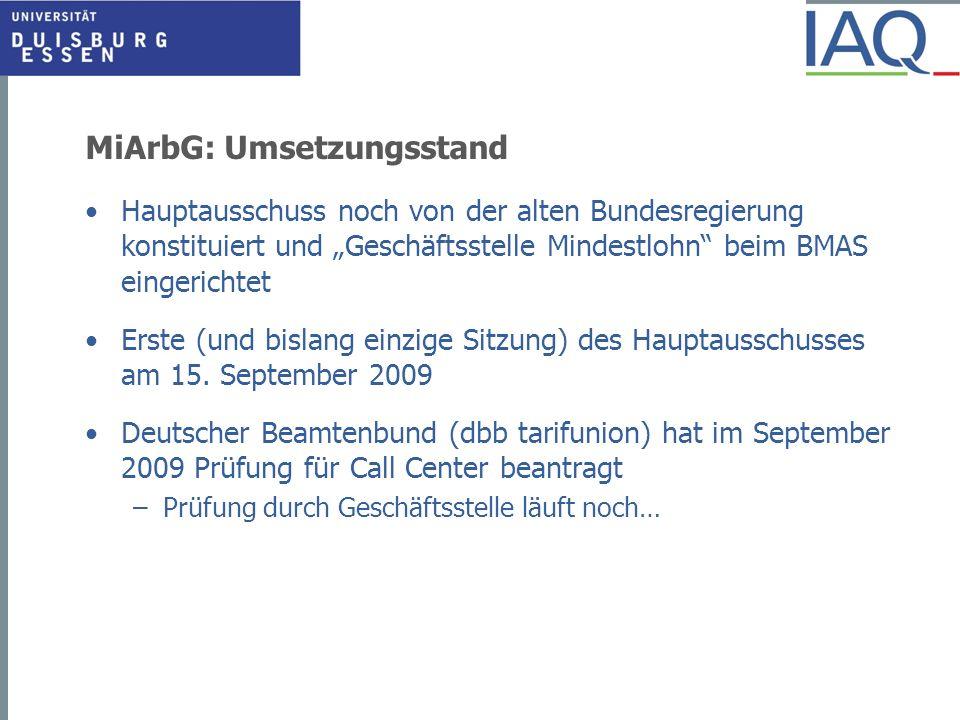 MiArbG: Umsetzungsstand